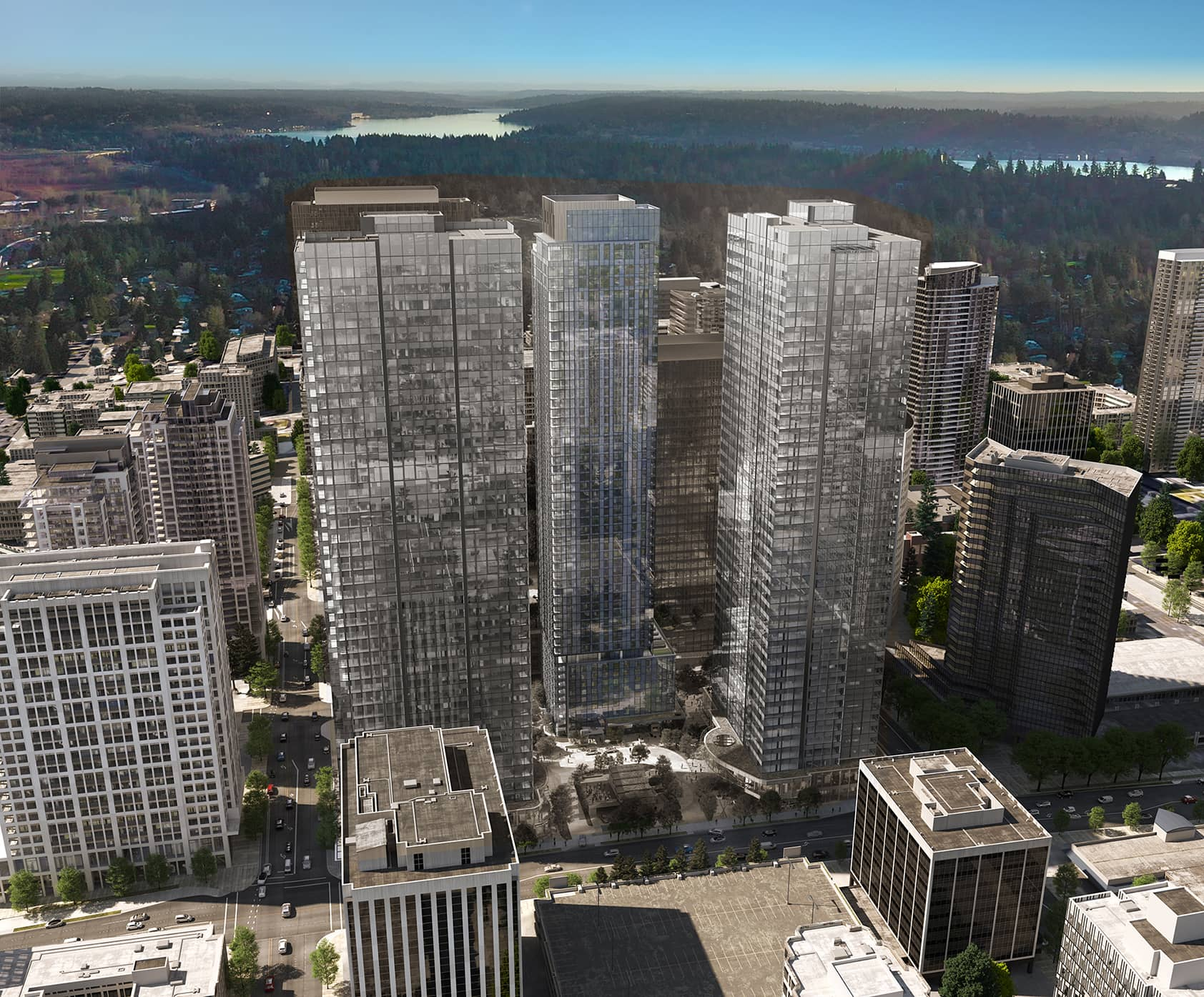 Cloudvue towers aerial view